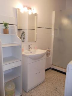 Salle d'eau avec douche et machine à laver