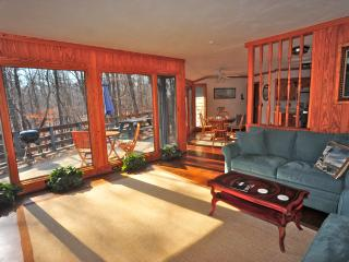 Glass windows across entire back wall, french doors lead out to deck. Open, airy and bright.