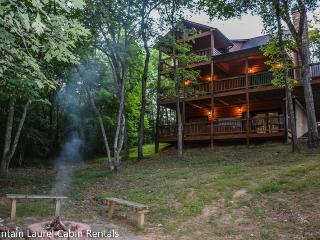 MYSTIC DREAM- BEAUTIFUL 3 BEDROOM 3 BATH CABIN ONLY 5 MINUITES FROM DOWNTOWN BLUE RIDGE WITH PAVED ACCESS AND RIVER ACCESS! POOL TABLE, HOT TUB, WIFI, GAS GRILL, GAS LOG FIREPLACE, FIRE PIT, SLEEPS 8, STARTING AT $175 A NIGHT!, Blue Ridge