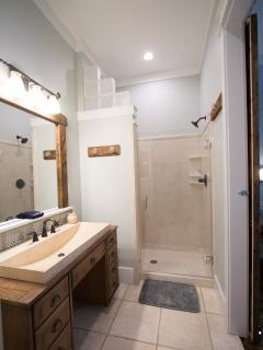 One of 3 King room suites on  2nd floor w/beautiful custom wood accents,glass blocks, walk in shower