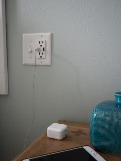USB outlets next to every bed.