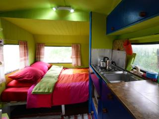 Rainbow caravan on Ecofarm Asturias