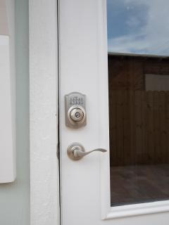 Entry with electronic coded locks.