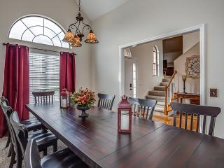Farmhouse dining room table that seats 10 guests.