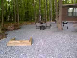 Horse shoe pits with charcoal grill.  Extra patio set, chiminea and fire pit.
