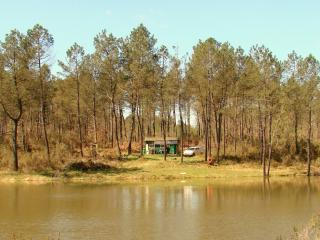 View of the cabin taken from the eastern bank of the lake.