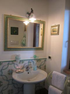 Green bathroom mirror