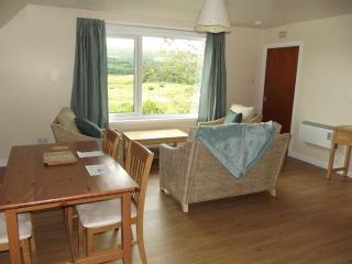 Glen Houses Mull, Chalet 2, living room with fantastic views over Glen Bellart.