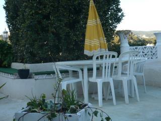 grande table et chaises, belles lanternes et prise électrique pour le BBQ à disposition dans l'appar