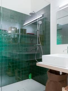 shower with green moroccan tiles