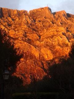 vue depuis le parc au soleil couchant