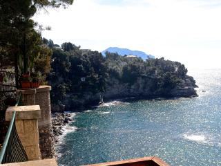 Perched high on the cliff with pool Pieve Ligure