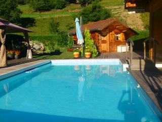 Petit chalet avec piscine vue Mt Blanc