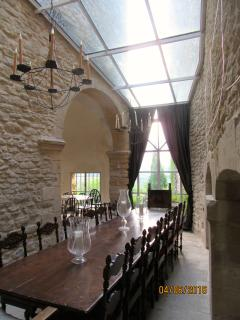 The glass roof in the Guards Room above the dining table