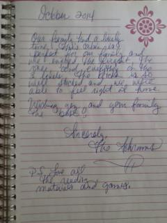 Nice Note from a Happy Family at Broad River Retreat!