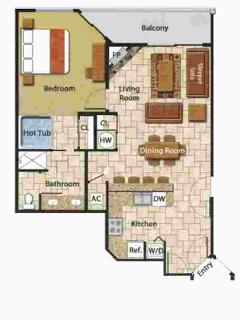 Floor plan for Large 'Grande' 1BR cabin unit with great mountain view and elevators.