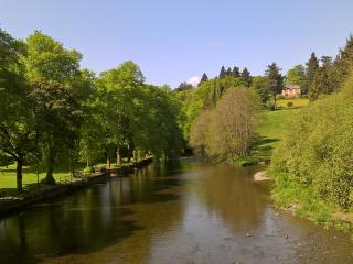 The view as you cross the brige between % Westagte and the town of LLanidloes.