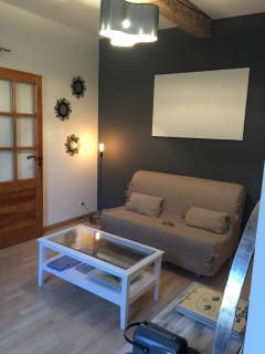 le salon privatif équipé d'une tv et d'un canapé lit