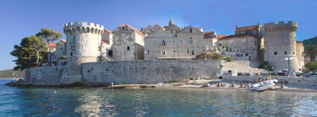 The view on Korcula's old town  from the sea