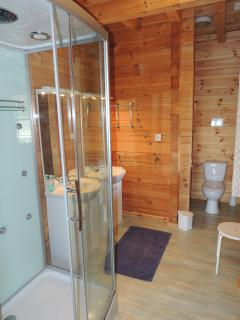 bathroom with shower double washstand and toilet