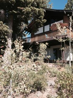 Back of Swedish Chalet. Large deck. Umbrella. Table and chairs. Bbq. Chaises. Beautiful view.