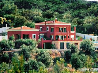 Stylish villa with panoramic sea view from inside, Roda