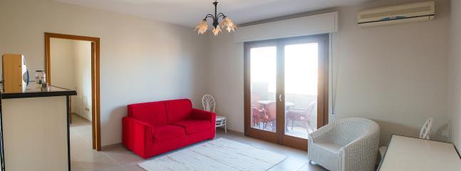 sala, divano letto, terrazza