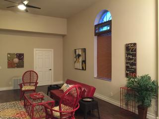 Fifteen foot ceilings, hand scraped hickory engineered flooring,
