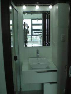 Bathroom, Towels, Area Rugs, Glass Shower enclosure!