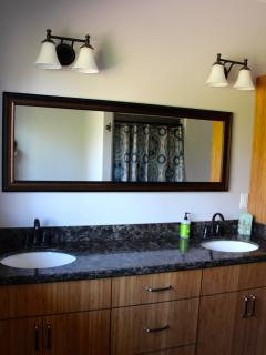 Upstairs bathroom with double sinks