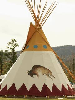 Bring Your Tribe & Stay in our custom hand painted 27 foot authentic Native American Teepee!
