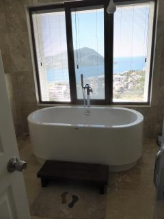 Freestanding bath in first floor ensuite with walk in shower ,toilet and sink