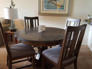 New marble top dining table.