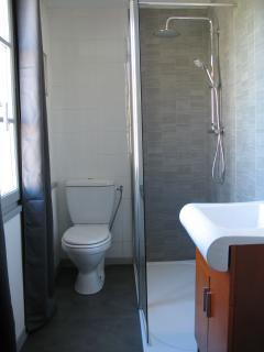 new modent bathroom with walk in shower