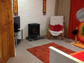 The log burner in the living room, snug and warm.