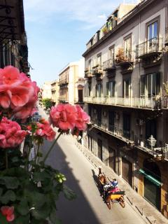 Dal balcone di Casakameusa il pittoresco Corso Vittorio Emanuele.
