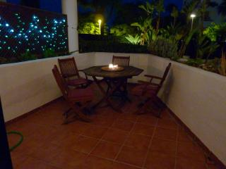 Front terrace at night