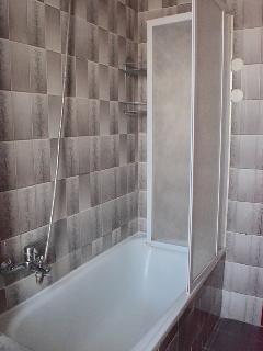 Bagno grande con vasca e box doccia