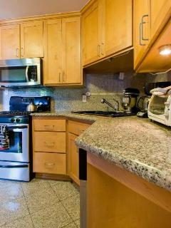 Granite kitchen, stainless steel appliances - lots of pots, pans, spices and extra for cooking