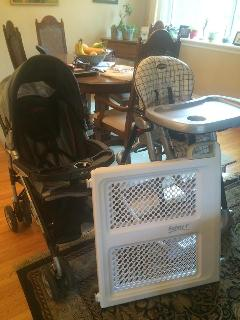 travelling with baby?  We have a highchair, stroller and packnplay for you.