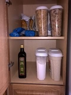 Some pantry items:  cereals, rice, flour, olive oil, pasta, snacks.