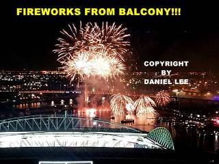 Enjoy the Docklands Winter fireworks from the balcony every Friday, July 2016 to Aug 2016!