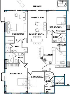 The Casa Phoenix Cozumel floorplan.  About 3200 square feet including the covered oceanfront terrace
