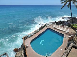 Poipu Shores Resort 302B 3BR/2BA Oceanfront.  HUGE lanai on the sea. Heated Pool