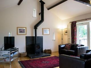 Upstairs living, with wood burning stove