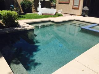 Private heated pool, single floor house. Golf community.