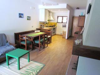 il soggiorno con accesso al terrazzo, divanoletto e caminetto