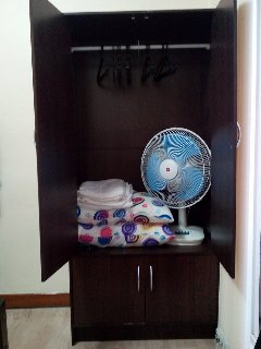 cabinet with electric fan and hangers. Towels provided.