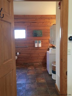 Large washroom with washer/dryer so you can travel home with clean clothes.