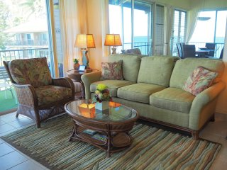 Newly-furnished comfortable living room with plenty of seating. Bright and open. High ceilings.
